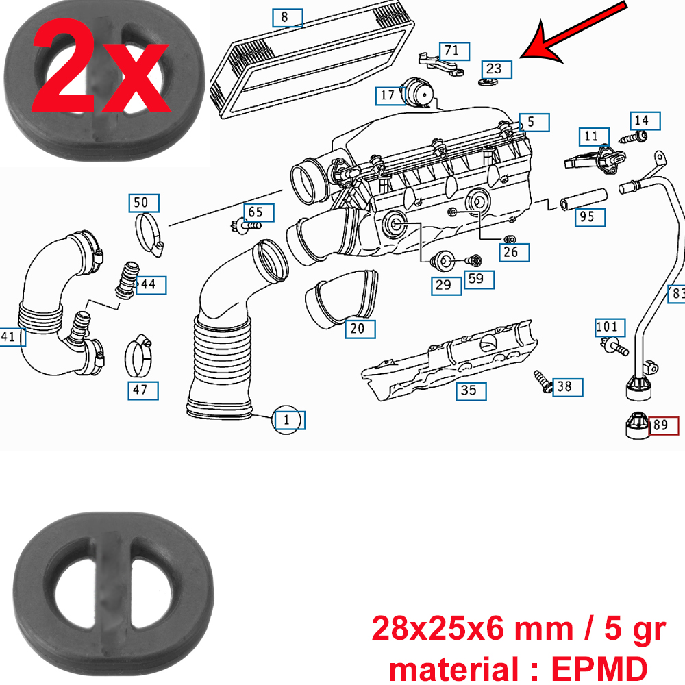 Mercedes Benz Air Filter Top Cover Rubber Straps For 611 612 Engines 428 Ford Engine Diagram 2 X Strap 6110940385